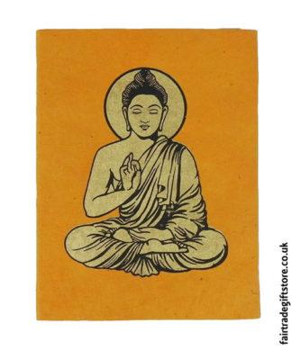 Fair-Trade-Lokta-Paper-Notebook-Orange-Buddha