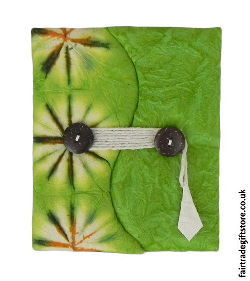Fair-Trade-Lokta-Paper-Notebook-Tie-Dye-Green