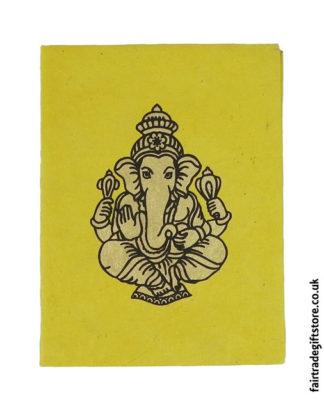Fair-Trade-Lokta-Paper-Notebook-Yellow-Ganesh