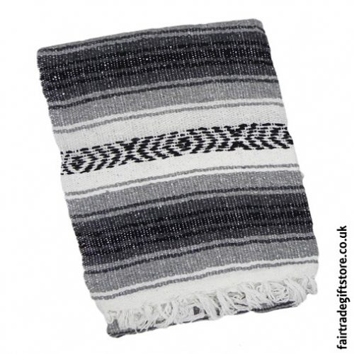 Fair-Trade-Mexican-Falsa-Rug-blanket-Black-Gray-White