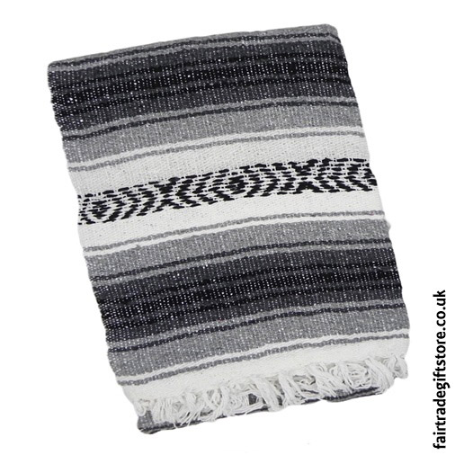 Fair-Trade-Mexican-Falsa-Rug-blanket-Black-Gray-White