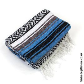 Fair-Trade-Mexican-Falsa-Rug-blanket-Blue-White-Black