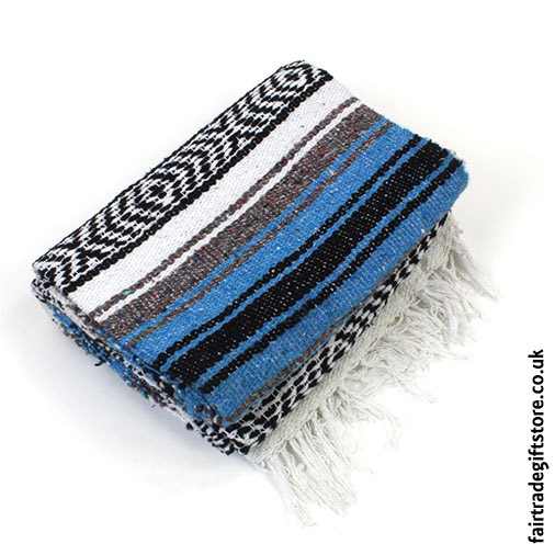 Fair-Trade-Mexican-Falsa-Rug-blanket-Blue-White-Black
