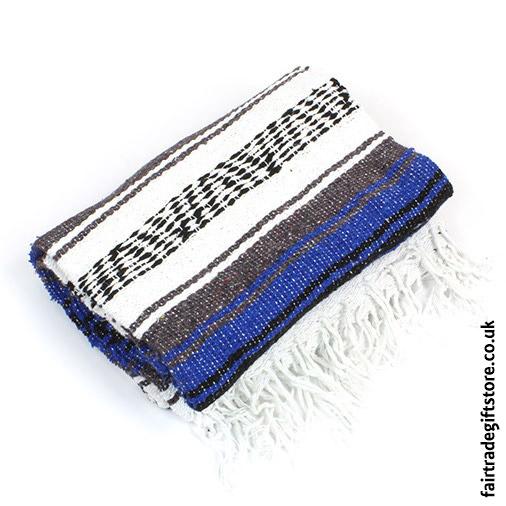 Mexican Falsa Rug/Blanket - Blue