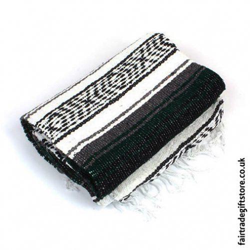 Fair-Trade-Mexican-Falsa-Rug-blanket-Dark-Green