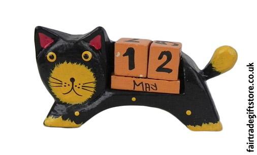 Fair-Trade-Wooden-Calendar-Black-Cat