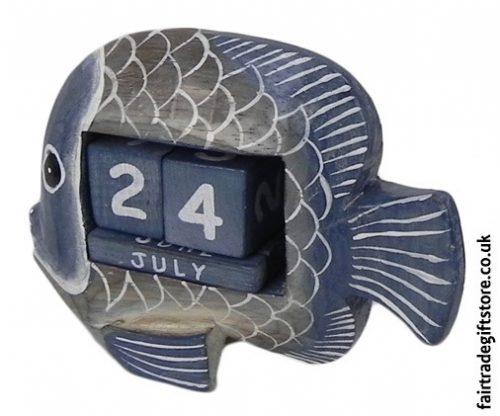Fair-Trade-Wooden-Calendar-Blue-Fish-side-view