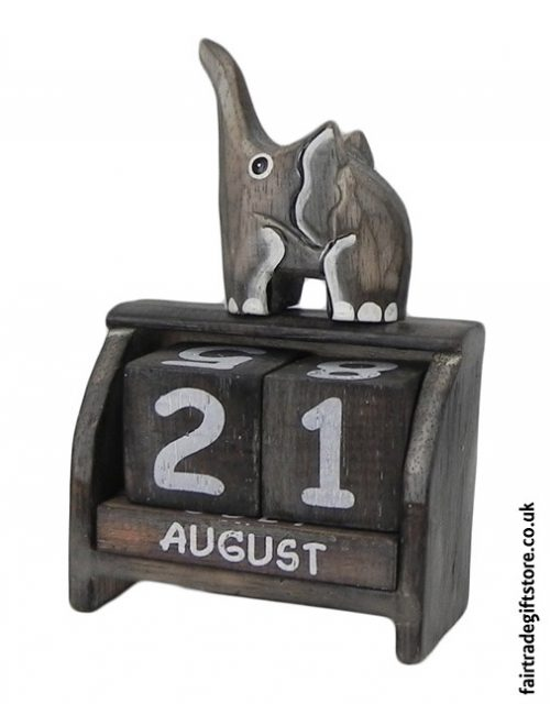 Fair-Trade-Wooden-Calendar-Elephant