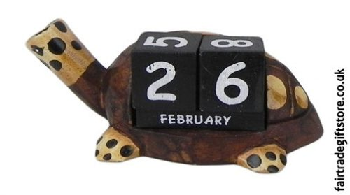 Fair-Trade-Wooden-Calendar-Large-Turtle