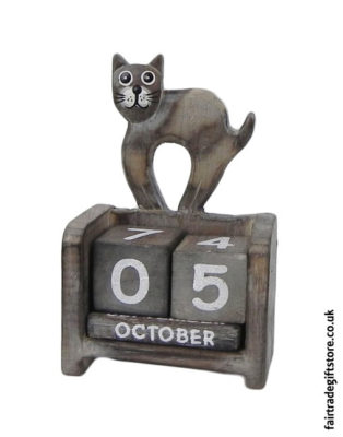 Fair-Trade-Wooden-Calendar-One-Cat