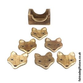 Fair-Trade-Wooden-Coasters-Fox