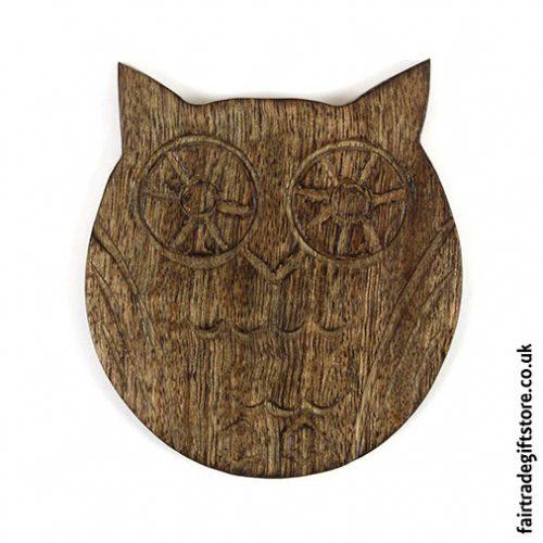 Fair-Trade-Wooden-Coasters-Owl-single