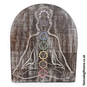 Fair-Trade-Wooden-Wall-Plaque-Chakra-Meditation