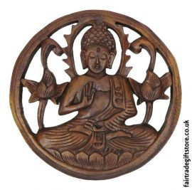 Fair-Trade-Wooden-Wall-Plaque-Round-Meditating-Buddha