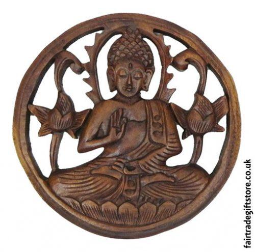 Fair-Trade-Wooden-Wall-Plaque-Round-Meditating-Buddha