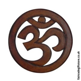 Fair-Trade-Wooden-Wall-Plaque-Round-Om-Symbol