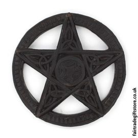 Fair-Trade-Wooden-Wall-Plaque-Round-Pentagram