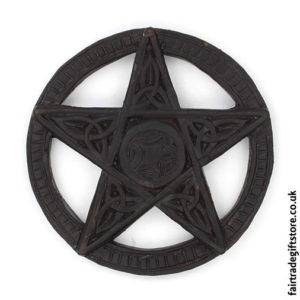 Fair-Trade-Wooden-Wall-Plaque-Round-Pentagram