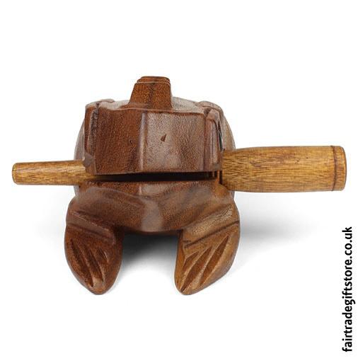 Fair-Trade-Güiro-Croaking-Wooden-Frog-Medium-front-view
