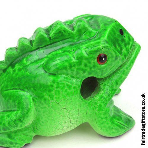 Fair-Trade-Güiro-Green-Painted-Croaking-Wooden-Frog-Close-up