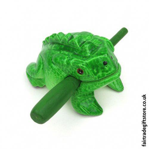 Fair-Trade-Güiro-Green-Painted-Croaking-Wooden-Frog-Small