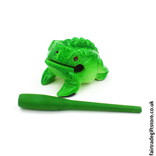 Fair-Trade-Güiro-Green-Painted-Croaking-Wooden-Frog-With-Stick