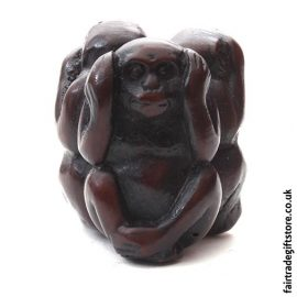 Fair Trade Resin Statue - 3 Wise Monkeys Charm - Hear No Evil