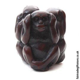 Fair Trade Resin Statue - 3 Wise Monkeys Charm - Hear No Evil