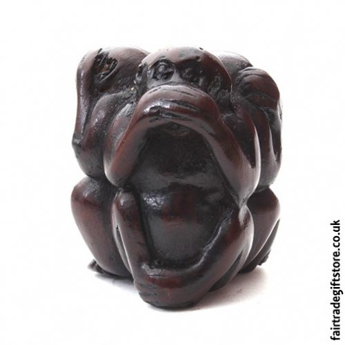 Fair Trade Resin Statue - 3 Wise Monkeys Charm - Speak No Evil