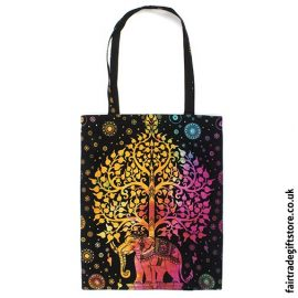 Fair Trade Reusable Shopping Tote Bag - Multicoloured Elephant Tree
