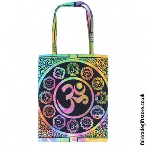 Fair Trade Reusable Shopping Tote Bag - Multicoloured Om