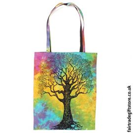 Fair Trade Reusable Shopping Tote Bag - Multicoloured Tree of Life