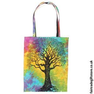 Fair Trade Reusable Shopping Tote Bag - Multicoloured Tree of Life