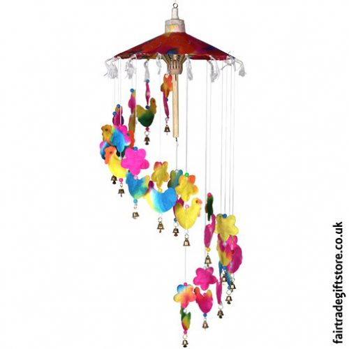 Fair-Trade-Saa-Paper-Mobile-with-Bells-Multicolour-Chickens