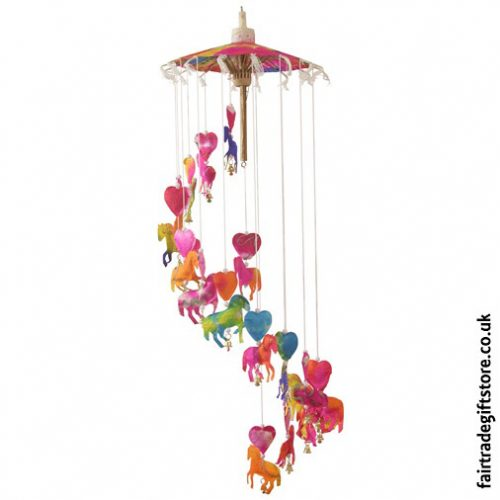 Fair-Trade-Saa-Paper-Mobile-with-Bells-Multicolour-Horses