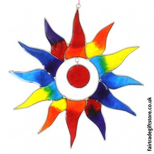 Fair-Trade-Suncatcher - Multicoloured Rainbow Sun