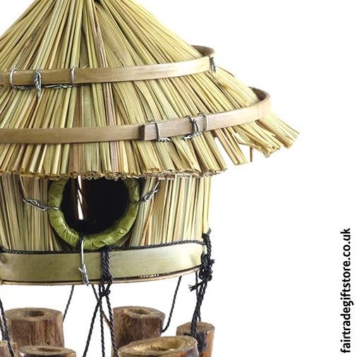 Fair Trade Windchime - Bamboo Tiki Hut - Close up