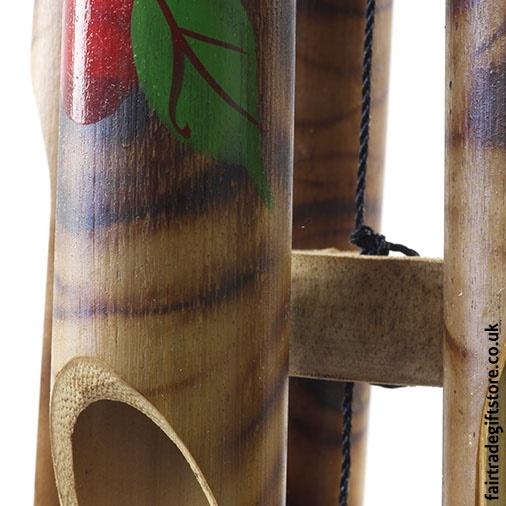 Fair Trade Windchime - Bamboo Tiki Hut - Detail