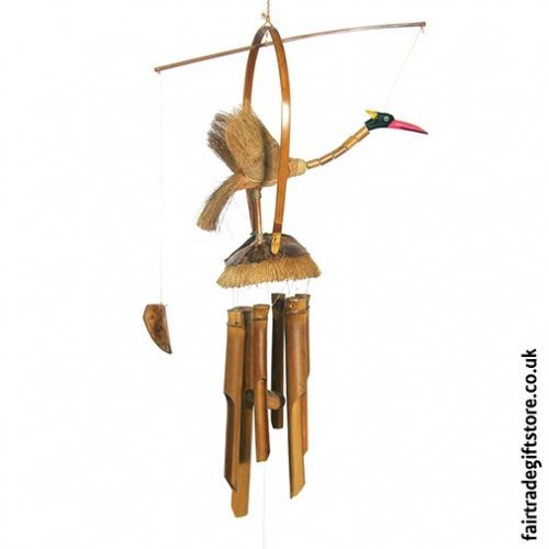 Fair Trade Windchime - Bamboo and Coconut - Nodding Bird
