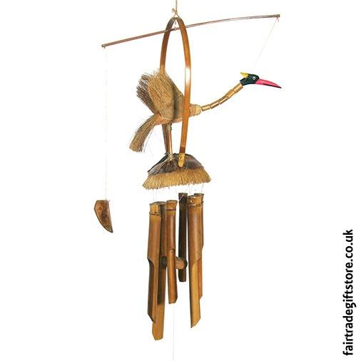 Fair Trade Windchime - Bamboo and Coconut - Nodding Bird