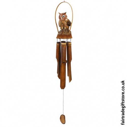 Fair Trade Windchime - Bamboo and Coconut - Owl