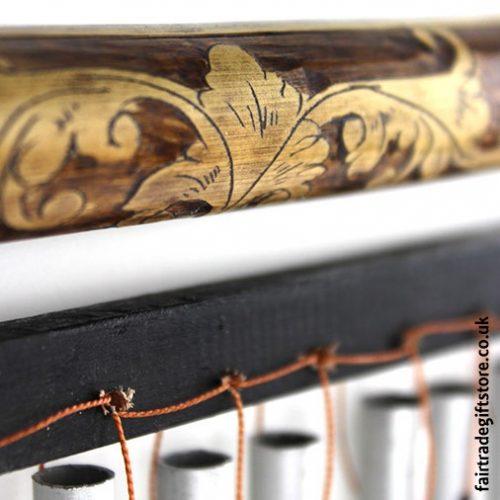 Fair Trade Windchime - Carved Wood & Metal - Detail