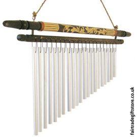 Fair Trade Windchime - Carved Wood & Metal - Medium