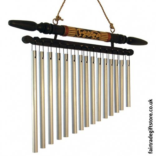 Fair Trade Windchime - Carved Wood & Metal - Small