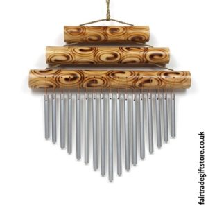 Fair Trade Windchime Metal & Bamboo - Large Triple Bar