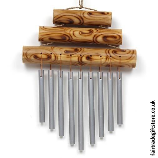 Fair Trade Windchime Metal & Bamboo - Small Triple Bar