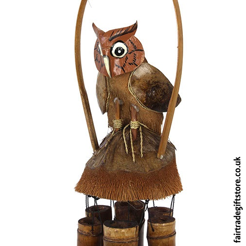 Fair Trade Windchime - Owl - Close up