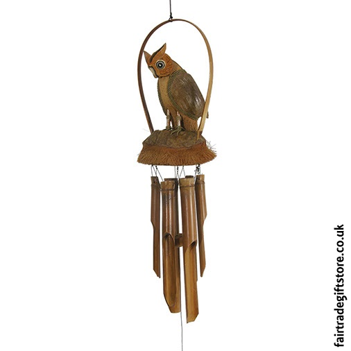 Fair Trade Windchime - Owl - Detail