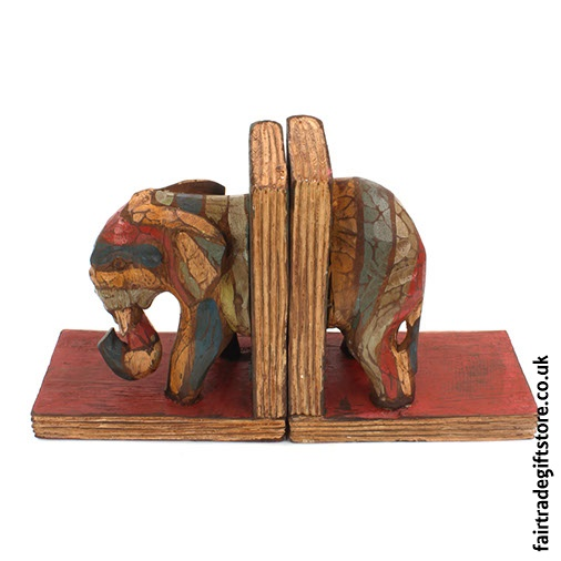 Wooden Bookends - Elephant