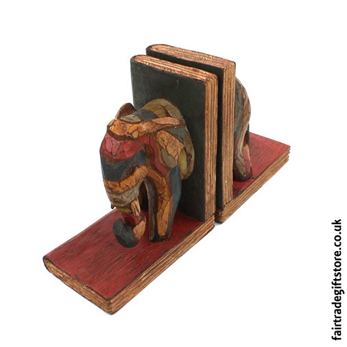 Fair Trade Wooden Bookends - Front